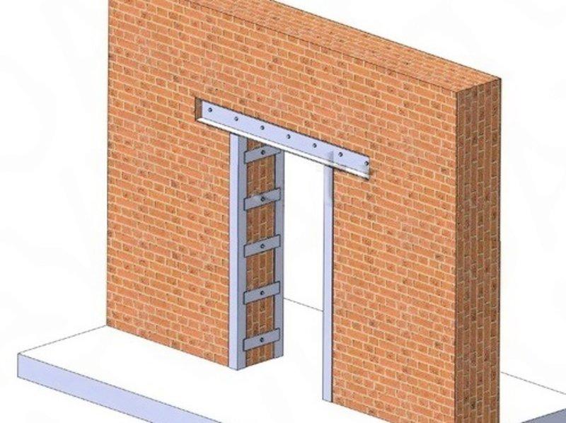 дверная перемычка в кирпичной стене
